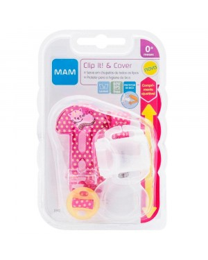 Prendedor MAM - Clip It & Cover Girls Gatinha Rosa