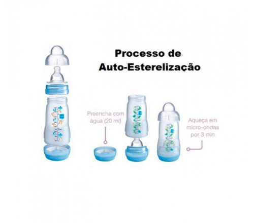 Mamadeira First Bottle Boys +0M  - Fluxo lento - 260ml